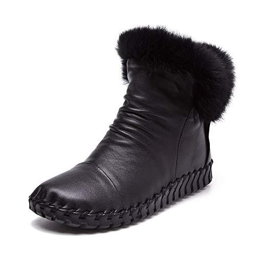 Botines Zapatos Femeninas Pingxiannv Botas Ocasionales Nieve Tobillo Moda Costura De Planos Invierno Cuero Cómodas Cpqw0Ozxq