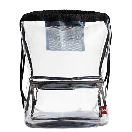 Clear Drawstring Backpack Gym Bag Sackpack Transparent Cinch Bag Stadium Approved Bags with Padded Straps for Gym,Travel,Beach,School Event Unisex