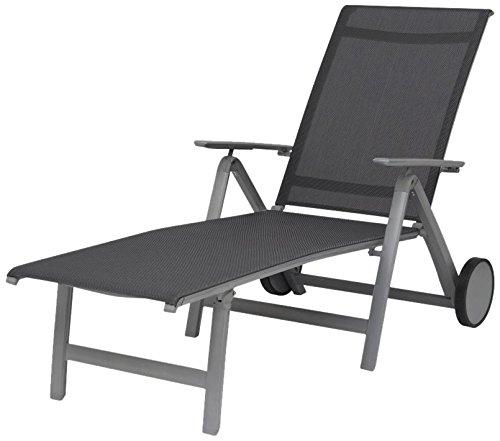 Siena Garden 255017 Rollliege London Aluminium-Gestell graphit Ranotex®-Gewebe 2*2 grau Rücken mehrfach verstellbar