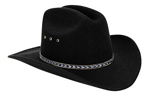 Child Hat Sizes - Western Black Child Cowboy Hat for Kids (Blue/Gold Band)