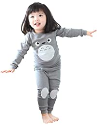 3206895051 Kids Totoro Pajamas Unisex Long Sleeve Tee and Pant Cotton PJ Set Puss  Costume