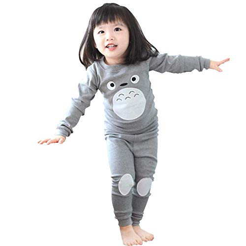Mukola Kids Totoro Pajamas Unisex Long Sleeve Tee and Pant Cotton PJ Set Puss Costume