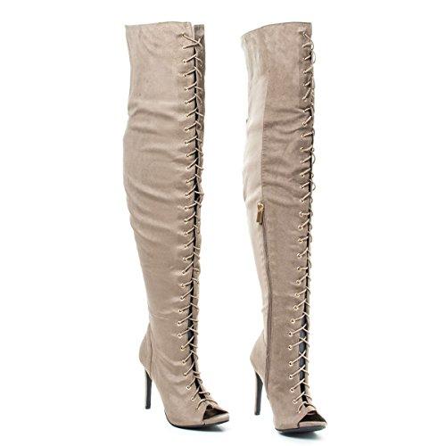 Anne Michelle Peep Toe Corset Elastic Lace OTK Over The Knee High Heel Dress Boots Taupeisu BHZNEqb