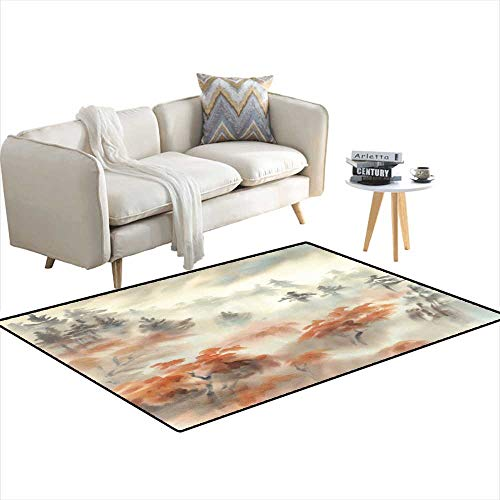 - Extra Large Area Rug Autumn Light in The Mountain Mist Watercolor Landscape 4'x13'