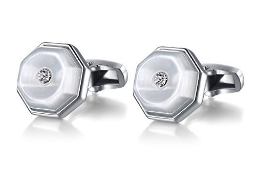 Mens Silver Swarovski Crystal Cufflink Business Shirt Wedding Cufflinks (includes Gift Box)