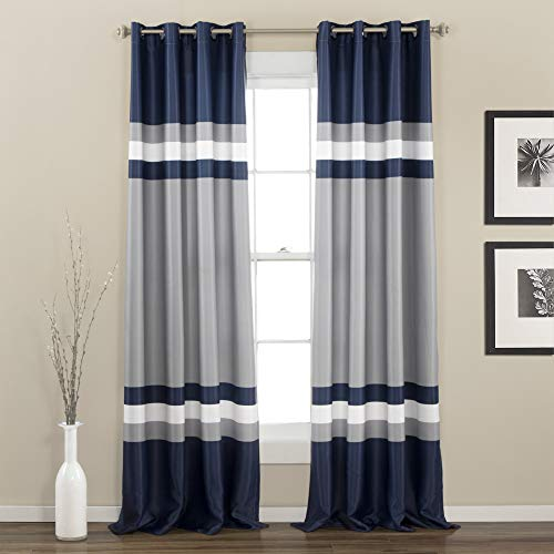 "Alexander Window Curtain Panel Set Navy (84""x52"") - Lush Décor"