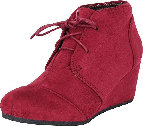 (Cambridge Select Women's Classic Lace-Up Chunky Wedge Ankle Bootie,8 B(M) US,Burgundy IMSU)