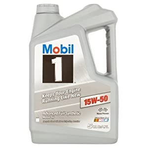 Mobil 1 15W-50 Advanced Full Synthetic Motor Oil, 5 qts