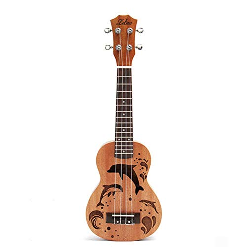 Wind-Susu Concert Ukulele Mahogany 21 inch Professional Wooden Ukelele Instrument with Dolphin Hollow Pattern for Beginners