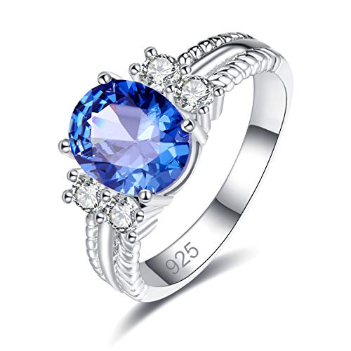 Narica Women's 925 Sterling Silver Filled Oval Cut Tanzanite Rings Band for Mom Size 6