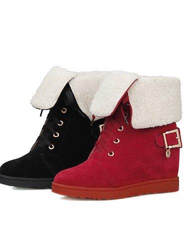 Uk6 Cn39 La Eu36 Zapatos Tacón us6 Xzz Vestido Mujer Cn36 Botas Eu39 De Negro Vellón Cuñas Punta Redonda Moda Black Cuña Rojo us8 A Casual Red Uk4 1SxnRxv