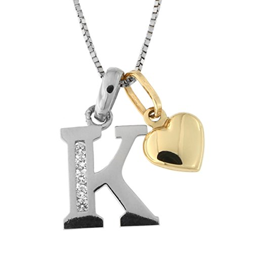 14k White Gold Cubic Zirconia Initial Pendant with Yellow Gold Heart Charm Necklace, K, (14kt Gold Diamond Name Pendant)