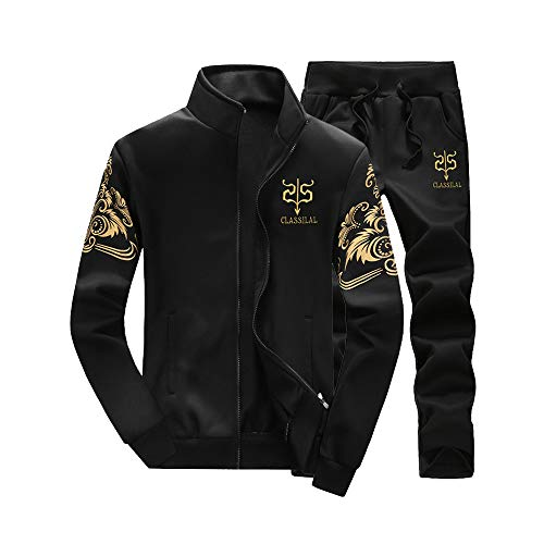 GOVOW Autumn Winter Sweatshirts for Men Thicken Top Pants Sets Sports Suit Tracksuit(US:16/CN:XXXL,ZY-Black)