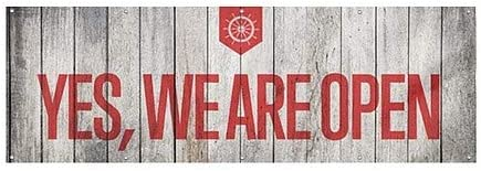 Yes We are Open 12x4 CGSignLab Nautical Wood Wind-Resistant Outdoor Mesh Vinyl Banner