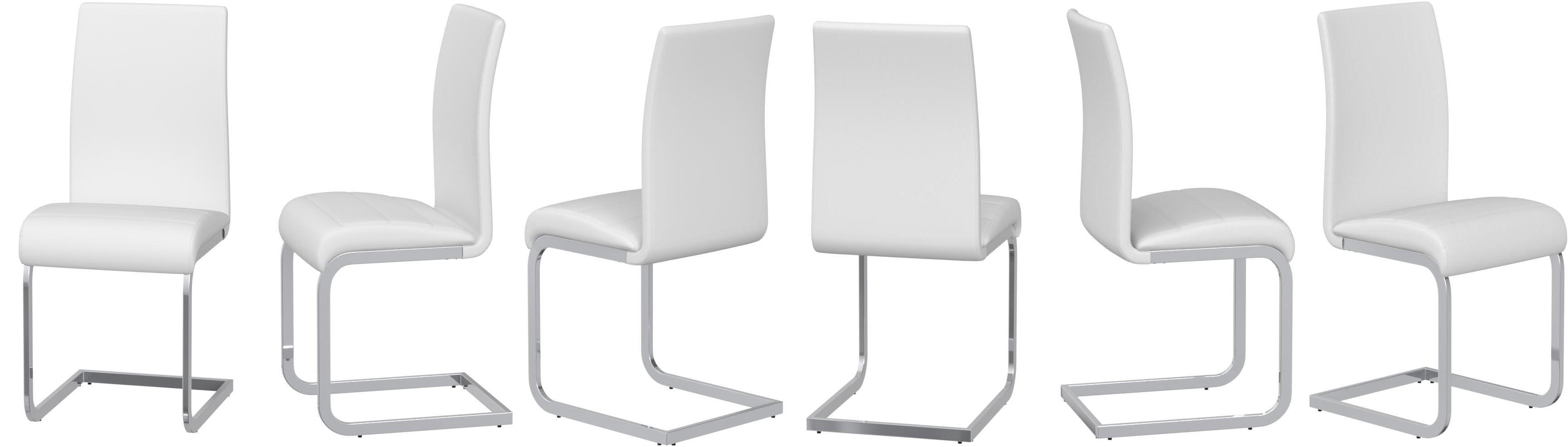 IDIMEX Lot de 4 chaises de Salle /à Manger Evelyn pi/ètement chrom/é rev/êtement synth/étique Noir et Blanc