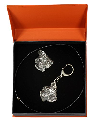 Schnauzer Prestige Set Dog Keyring and Necklace in Casket ArtDog Limited Edition with Parting