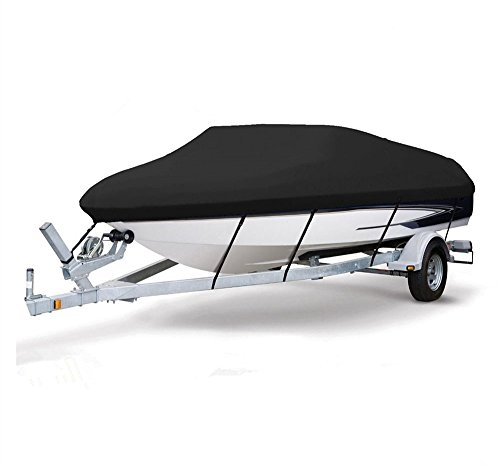 Waterproof Boat Cover, Enk 600D Heavy Duty Boat Cove,17ft to19ft, 20-22ft, Premium Boat Cover Fits V-Hull,Tri-Hull, Runabout Boat Cover,Full Size Boat Cover (Black, 20-22ft)