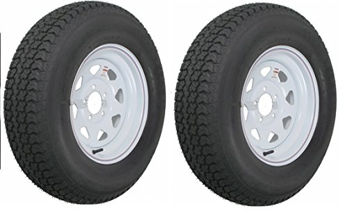 eCustomRim 2 Heavy Duty Mounted Trailer Tires Rims ST205/75D15 205 75 15 LRD 5H White ()