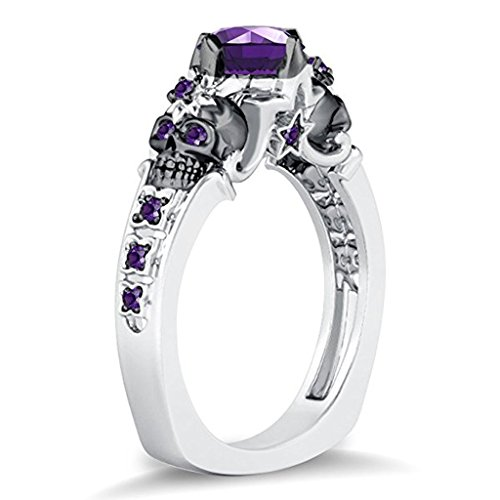 DreamJewels Double Skull Flower & Star Design Round Created Purple Amethyst Diamonds 14k White Gold Plated Skull Ring Alloy (14k Amethyst Flower)