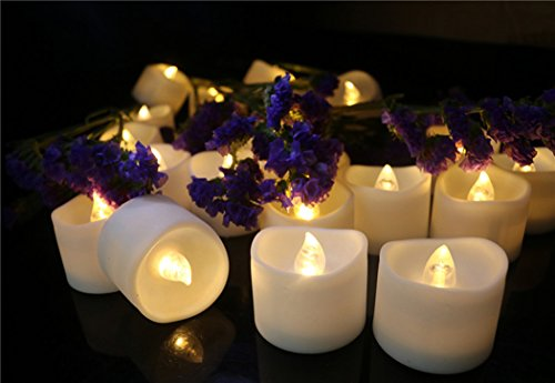 Collect Beauty 12PCS Wavy Flameless Warm White Flickering LED Tea Lights Battery-Powered Flashing Blub Fake Candle for Party Wedding Realistic Unscented Votive ()