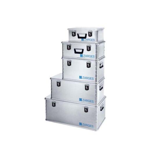 ZARGES Alu-Box Mini XS Produkt: ZARGES Alu-Box Mini XS Innenmaß (LxBxH): 45 x 29 x 18 cm Außenmaß (LxBxH): 50 x 34 x 20 cm Volumen: 24 L Gewicht: 3,1 kg