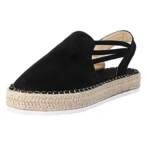 QueenMMWomens Summer Espadrille Wedges Shoes Comfort Platform Buckle Strap Beach Bohemia Sandals Black
