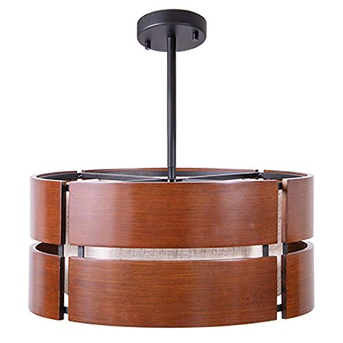 Wellmet Contemporary Drum Pendant Light Fixture with Wood Shade for Dinning Room, 3-Lights Rustic Chandelier Foyer Lighting with Acrylic Diffuser, Matte Black Finish