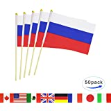 LoveVC Russia Stick Flag,50 Pack Hand Held Small Russian Flag With Wood Pole Mini International Countries World Stick Flags Banner,Party Decorations For Parades,World Cup,Olympics,School Sport Events
