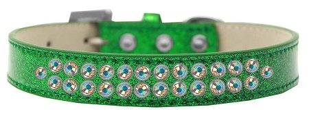 Mirage Pet Products Two Row AB Crystal Emerald Green Ice Cream Dog Collar, Size 16 by Mirage Pet Products