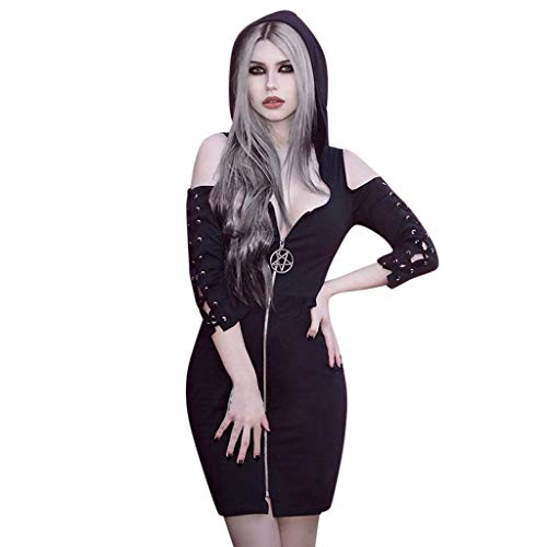 wuliLINL Sexy Top Cosplay Dress Gothic Street Punk Wind Dresses Women Black Zipper Pleated Strap Skirts Long Knee Skirt with Hat(Diagonal Zip,S)