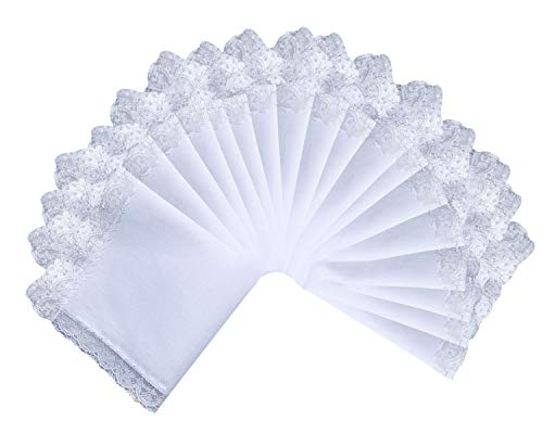 - 6/12/18/25 Pack of Ladies White Perfect Wedding Lace Cotton Handkerchiefs