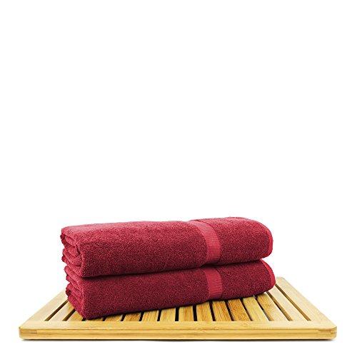BC BARE COTTON Bare Cotton Luxury Hotel & Spa Towel Turkish Bath Sheets Dobby Border (Cranberry, Bath Sheets - Set of 2) by BC BARE COTTON (Image #3)