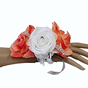 Angel Isabella Wrist Corsage-keepsake artificial roses hydrangea large wrist flower flower prom dance graduation events (Peach Coral White) 78