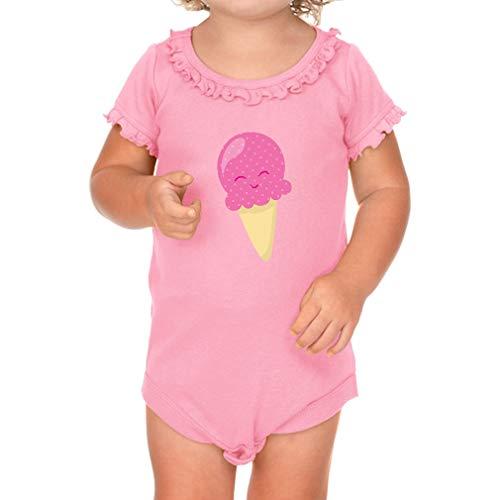 Cute Pink Ice Cream Short Sleeve Scoop Neck Girl Sunflower Cotton Baby Ruffle Bodysuit - Soft Pink, 24 ()