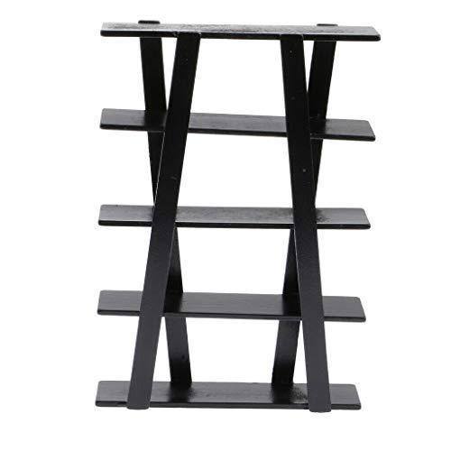 NATFUR 1/12 Scale Dollhouse Miniature Furniture Black Wooden Display Shelf ()