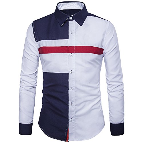 Clearance Sale! ! Charberry Mens Fashion Casual Stitching Long Sleeve Shirt Oxford Formal Suits Slim Fit Tee Blouse Top (US-S/CN-M, White) from Charberry