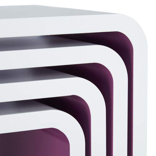 Bianco Forma Quadrata Relaxdays 10021777/_49 Set 4 Mensole da Parete Cube per il Soggiorno
