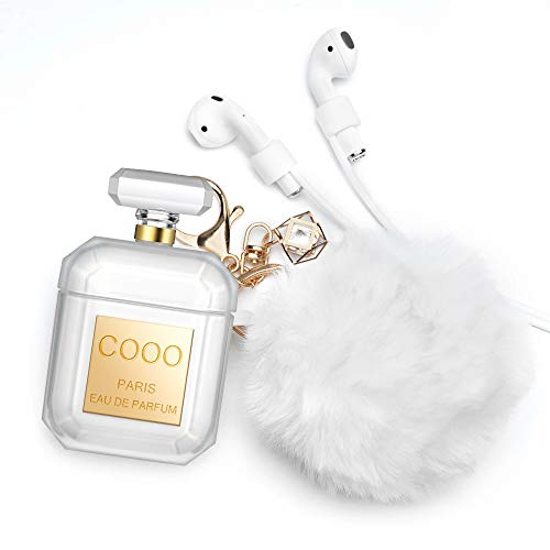 (Xmifer AirPods Case, Cute Airpods Case Keychain Drop Proof (Silicone Skin for AirPods Charging Case 2/1) with Fluffy Fur Ball Keychain for Airpods 2/1 Perfume Bottle Gold with Strap)