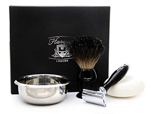 DE Safety Razor Gift Set with 4 Different Item In Black( Black Badger Hair Shaving Brush, DE Safety Razor (No Blades Included), HARYALI LONDON