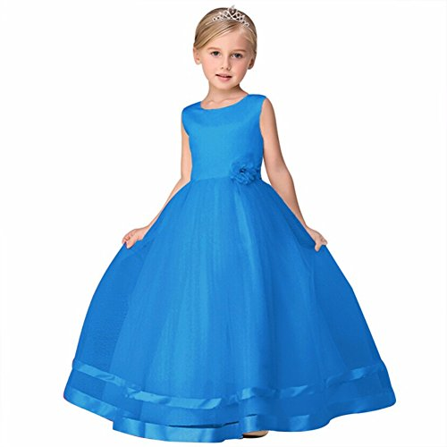 Children's Girl Teenage Formal Party Dress Tulle Long Evening Dress Girls Prom Gown