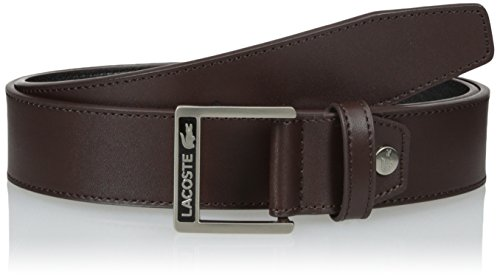 Lacoste Men's Classic Logo Embossed Buckle Belt, Brown, 85 (Lacoste Brown Belt)