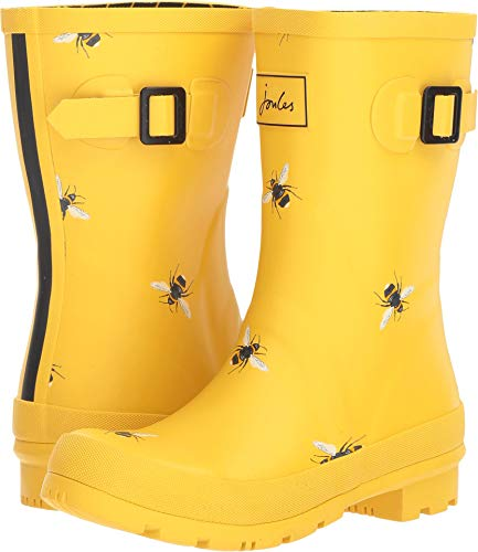 Joules Women's Mollywelly Rain Boot,Gold Botanical Bees,10 Medium US ()