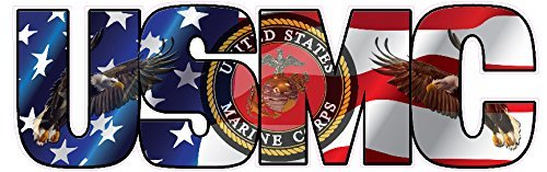 Flag Corps Marine Decal (USMC Marine Corps American Flag Eagle Lettering Sticker | 6 INCH)