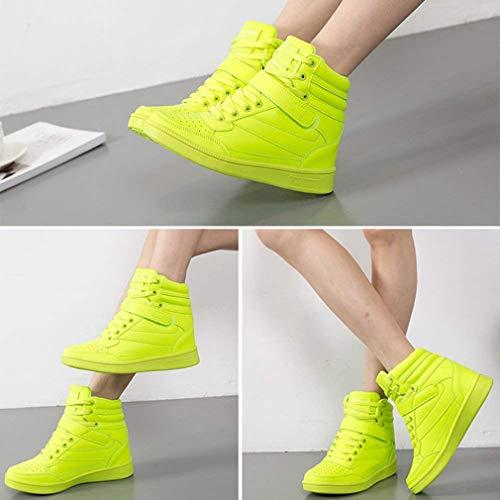 Sneaker Casual Traspirante Zeppa Donna Tinta Velcro Da Collo Sneakers Testa Con 35 A Alto Slittata Junkai Stringate Sportive Rotonda 40 Scarpe Verde Corsa Unita dXxwH6qAT