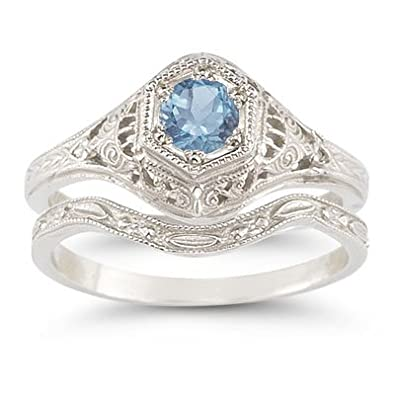 antique style blue topaz wedding ring set - Blue Topaz Wedding Rings