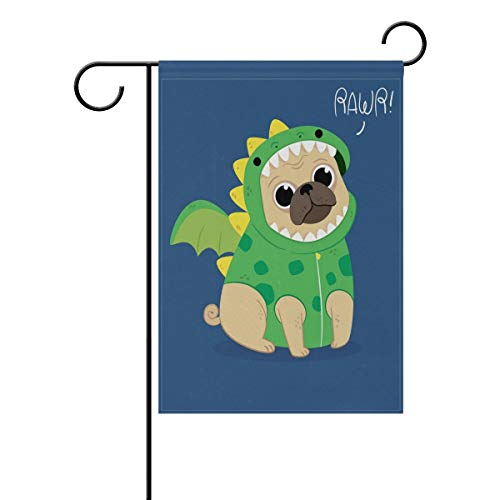 EnmindonglJHO Cute Pug with Dragon Costume Garden Flag Banner 12 x 18 Inch Decorative Garden Flag for Outdoor Lawn and Garden Home ()
