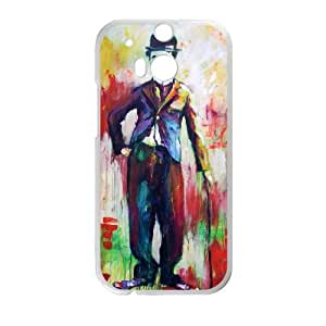 Charles Chaplin HTC One M8 Cell Phone Case White TPU Phone Case SV_162203