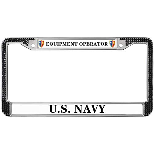 GND United States Navy License Plate Frame for Women,Equipment Operator License Plate Frame Rhinestones Black Rhinestone Metal License Plate Frame for US Vehicles