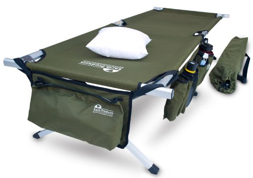 Earth Products Jamboree Military Style Folding Cot with Free Side Storage Bag System and Pillow (Green), Outdoor Stuffs