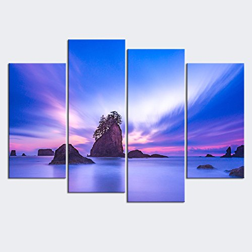 (sechars - Canvas Wall Art Panels Sea Stack in Sunset with Purple Light Painting Framed 4 Pieces Canvas Art Olympic National Park USA Landscape Picture Artwork for Home Decor )